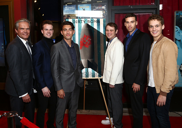 The cast of 'Dirty Bomb' gather at the premiere in Los Angeles earlier this month.